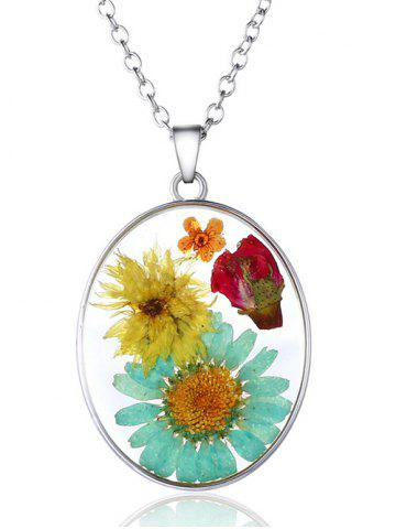 Trendy Oval Glass Dry Sunflower Pendant Necklace