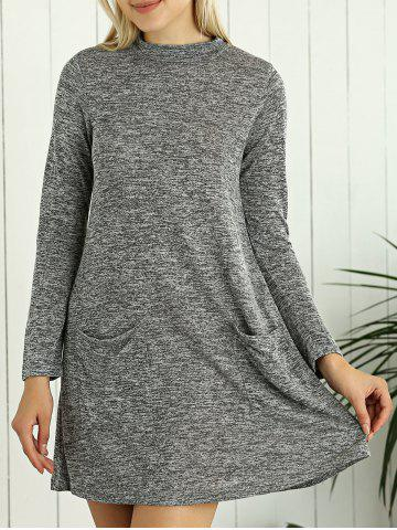 Best Heathered Long Sleeve Tunic Sweater Dress with Pocket - L GRAY Mobile