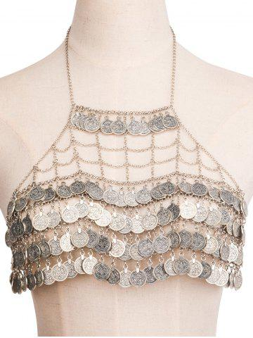 Best Alloy Engraved Coins Geometric Body Chain SILVER