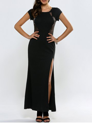 New Lace Panel Short Sleeve Slit Maxi Prom Dress BLACK XL