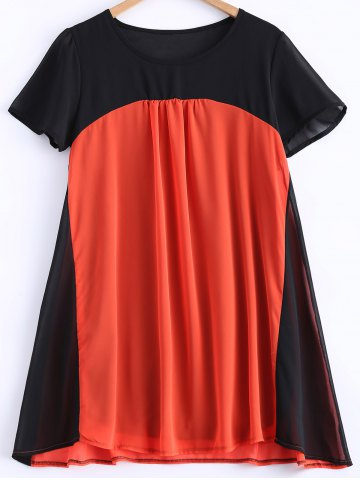 Pleated Color Patchwork Chiffon Dress - Black And Orange - Xl