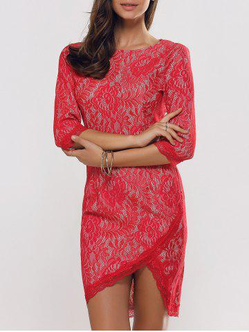 Shops Laciness High Low Tulip Hem Jacquard Dress RED 2XL