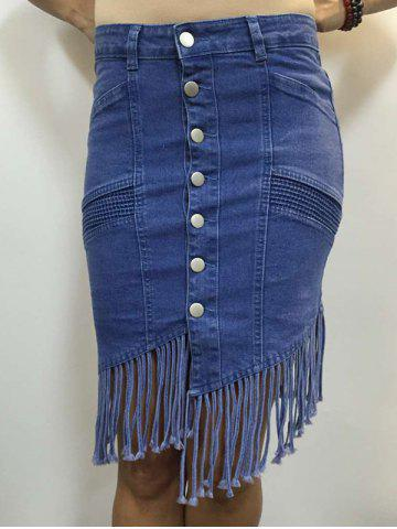Outfits High Waist Buttoned Fringed Skirt