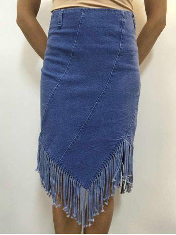 Unique High Waist Fringed Denim Sheath Skirt