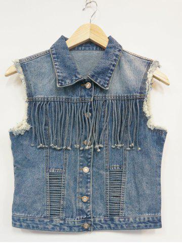 Store Ripped Buttoned Fringed Vest