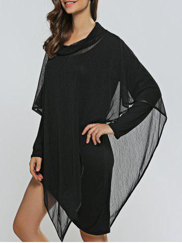 Shop Asymmetical Skinny Dress + Cowl Neck Cape Dress Twinset BLACK ONE SIZE