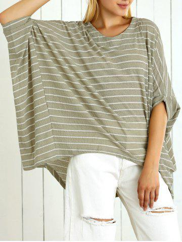 Shops Batwing Sleeve Striped Asymmetrical Loose-Fitting Blouse
