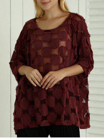 Sale Batwing Sleeve See-Through Loose-Fitting Blouse