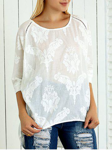Fancy 3/4 Sleeve Asymmetrical Jacquard Loose-Fitting Blouse