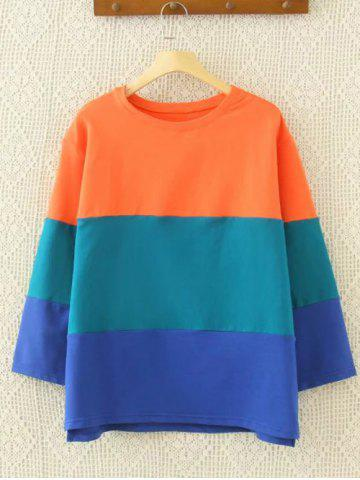 Drop Shoulder Color Block Sweatshirt - Blue And Orange - Xl