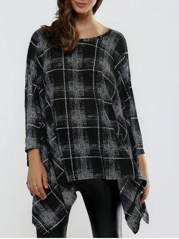 Store Batwing Sleeve Asymmetrical Plaid Loose-Fitting Knitwear BLACK ONE SIZE