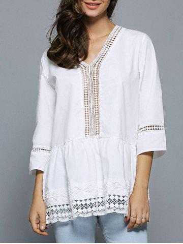 Buy V-Neck Lace Splicing Hollow Out Blouse