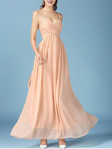 Outfit Noble Faux Wrap Ruched Spaghetti Strap Chiffon Maxi Dress