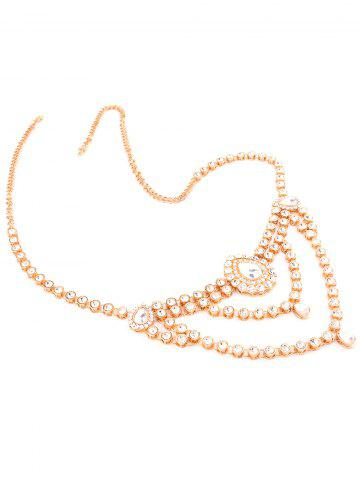 Cheap Rhinestoned Water Drop Belly Chain - GOLDEN  Mobile