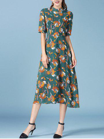 Hot Retro Floral Print Half Sleeve Chiffon Dress