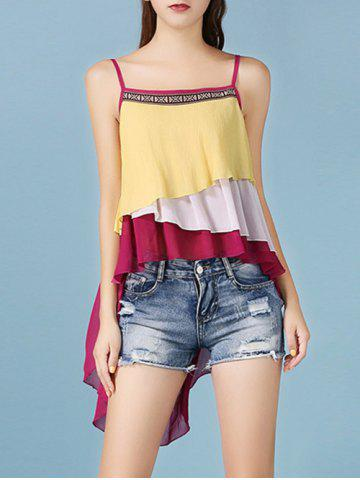 Online Color Block Tiered Asymmetric Ethnic Tank Top