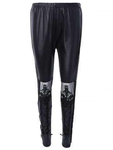 Store Slimming Lace Spliced Tied-Up Leather Pants BLACK ONE SIZE