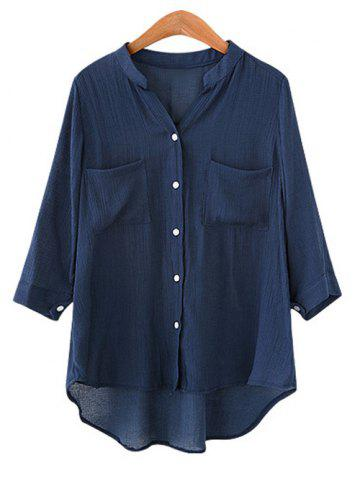 Discount Plus Size Button Pockets Asymmetric Shirt
