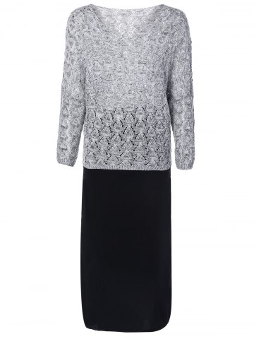 Trendy Heathered Openwork Knitwear and Tank Dress Twinset LIGHT GRAY ONE SIZE