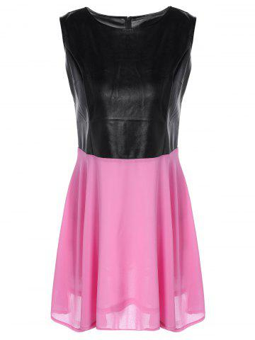 Sale Chiffon Spliced PU Leather High Waist Dress PINK M