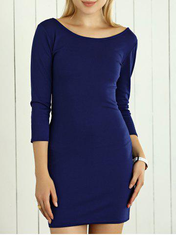 Sale Slimming Hollow Out Bodycon Dress DEEP BLUE L
