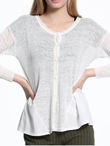 Affordable Chiffon Spliced Ribbed Button See Through Cardigan