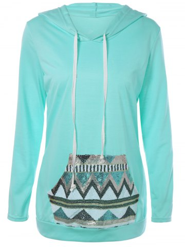 Outfit Geometric Print Drawstring Hoodie TIFFANY BLUE XL