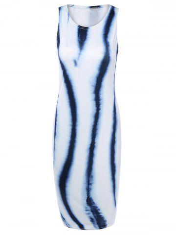 Unique Sleeveless Tie Dye Bodycon Dress WHITE L