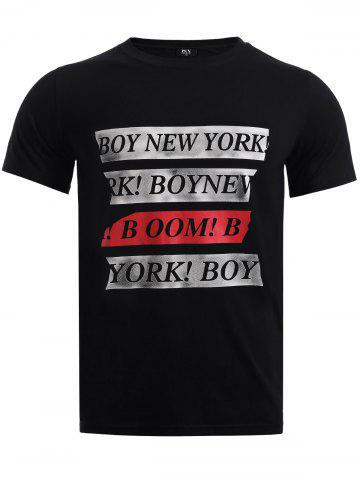 Latest BoyNewYork Letters Print Round Neck T-Shirt BLACK XL