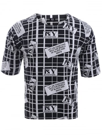 Shops BoyNewYork Drop Shoulder Checked Letters Print T-Shirt BLACK XL