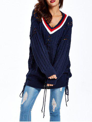 Trendy Cable Cutwork Sweater