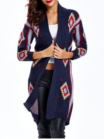 Unique Collarless Print Long Cardigan