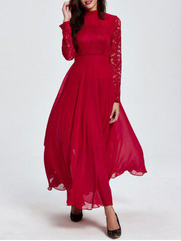 Lace Maxi Prom Dress with Long Sleeve - Red - M