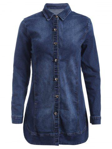Buy Long Sleeves Buttoned Denim Coat DEEP BLUE XL