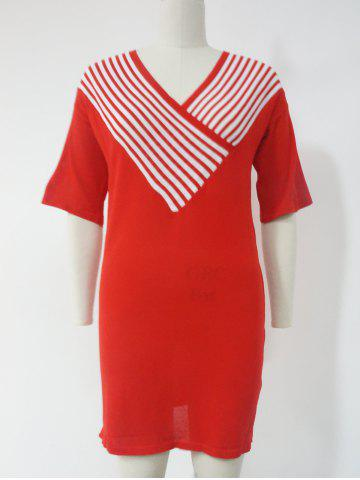 Discount Convertible Collar Low Cut Wrap Pattern Stripe Dress