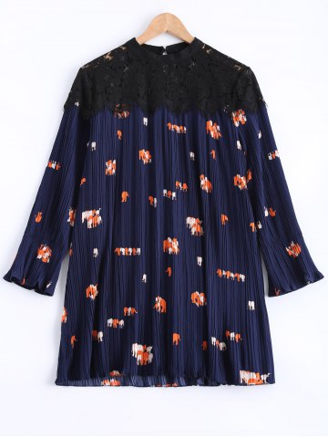 Sale Pleated Lace Spliced Printed Dress