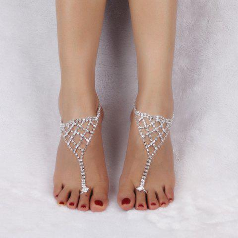 Outfits Triangle Tiered Rhinestone Toe Ring Anklet