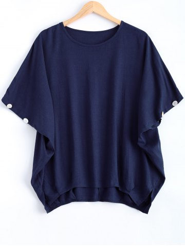 Affordable Batwing Sleeve Button Design Loose-Fitting Blouse