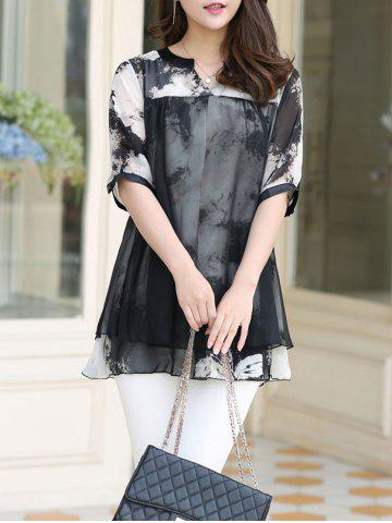 Online Ink Painting Two Layered Chiffon Blouse