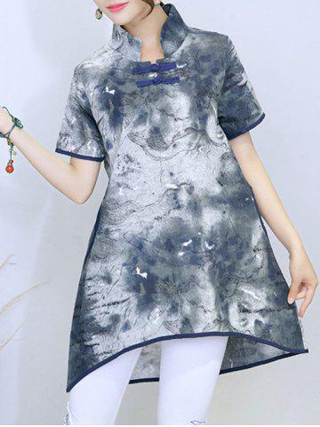 Best Vintage Ink Painting Slit High Low Hem Button Blouse