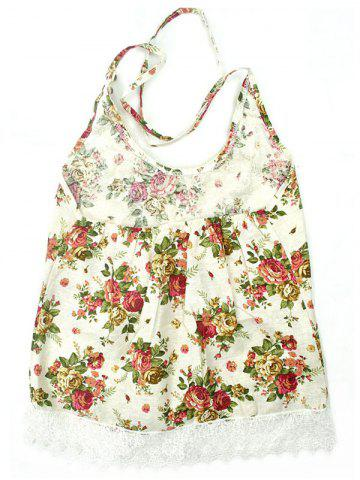 Fancy Chinese Style Floral Print Backless Tank Top