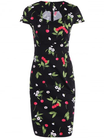 Shop Cape Sleeve Sweetheart Neck Cherry Printed Sheath Dress
