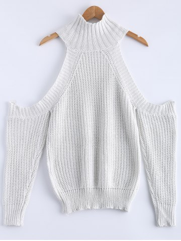 Outfit Cold Shoulde Knit Sweater WHITE M