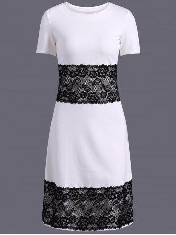 Shop Color Block Lace Spliced Pencil Dress