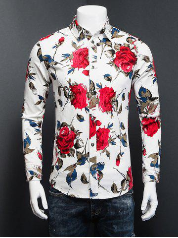 Online 3D Rose Printed Plus Size Turn-Down Collar Long Sleeve Shirt WHITE 5XL
