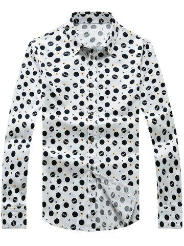 Unique Polka Dot Printed Plus Size Turn-Down Collar Long Sleeve Shirt WHITE 2XL