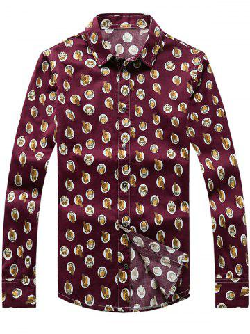 New Owl Printed Plus Size Turn-Down Collar Long Sleeve Shirt WINE RED 5XL