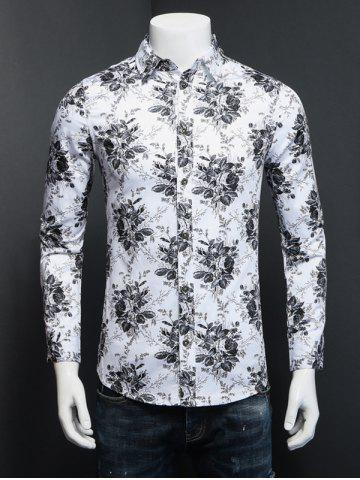 New Tiny Floral Printed Plus Size Turn-Down Collar Long Sleeve Shirt
