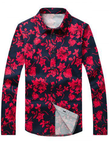 Unique Flower Printed Plus Size Turn-Down Collar Long Sleeve Shirt