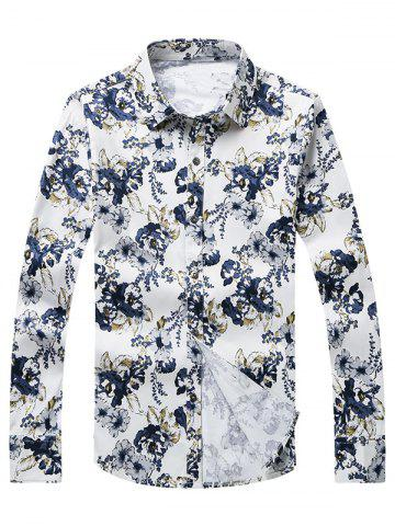 Hot 3D Flower Printed Plus Size Turn-Down Collar Long Sleeve Shirt WHITE 5XL